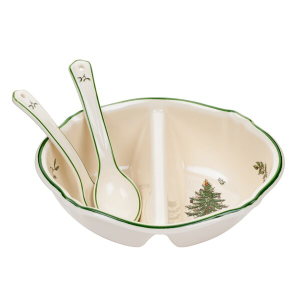 Christmas Tree Serve 3 Piece Divided Serving Dish by Spode