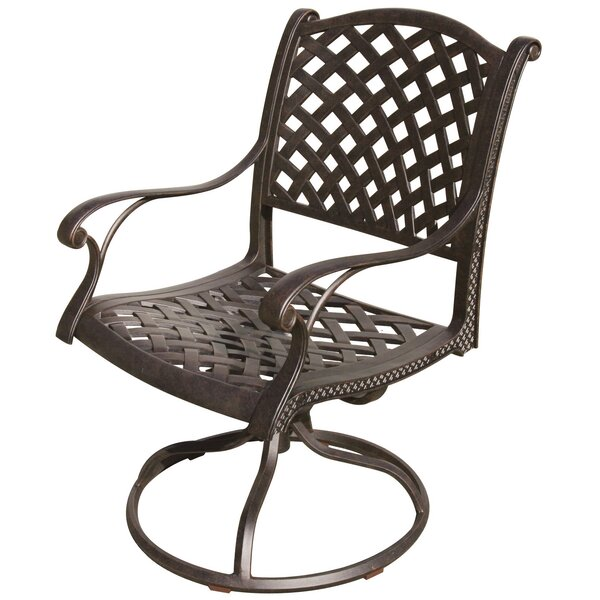 Lincolnville Swivel Patio Dining Chair with Cushion by Fleur De Lis Living