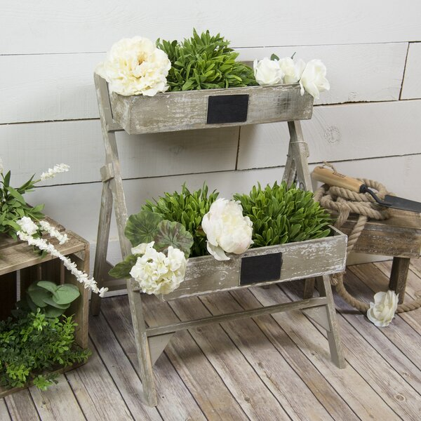 Ontiveros Distressed 2-Tiered Wood Vertical Garden by One Allium Way