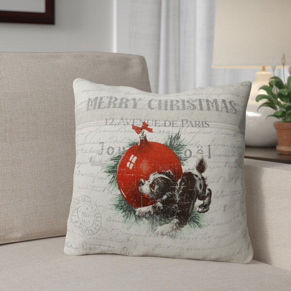 Konner Christmas Puppy Outdoor Throw Pillow by Red Barrel Studio