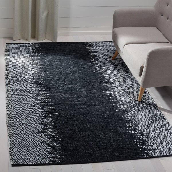 Logan Hand-Woven Light Grey/Black Area Rug by Bungalow Rose