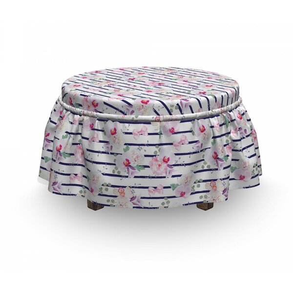 Soft Bouquets 2 Piece Box Cushion Ottoman Slipcover Set By East Urban Home