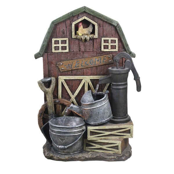 Resin Barn with Hand Pump Watering Can and Pail Fountain by Hi-Line Gift Ltd.