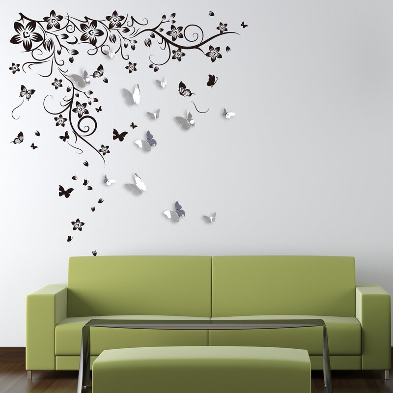 New Huge Butterfly Vine And 3D Mirror Butterflies Wall Decal