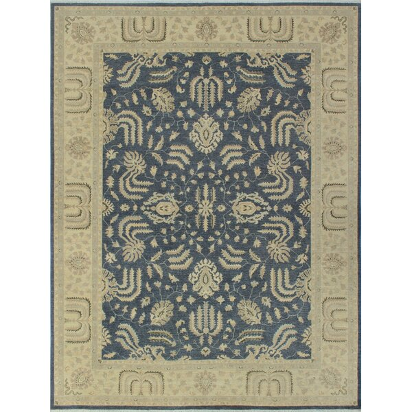 Longoria Chobi Knotted Wool Rectangle Gray Area Rug by Canora Grey
