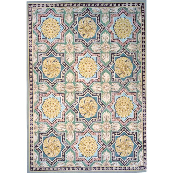 Aubusson Hand-Woven Wool Green/Blue/Beige Area Rug by Pasargad