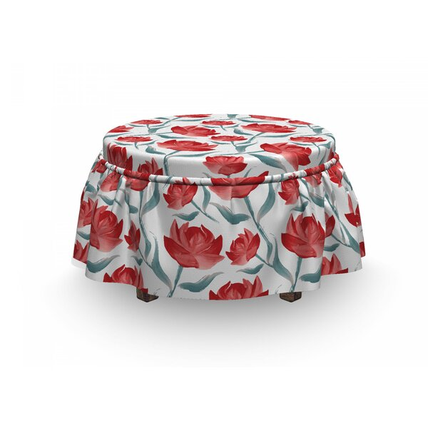 Romantic Rose Blooms Ottoman Slipcover (Set Of 2) By East Urban Home