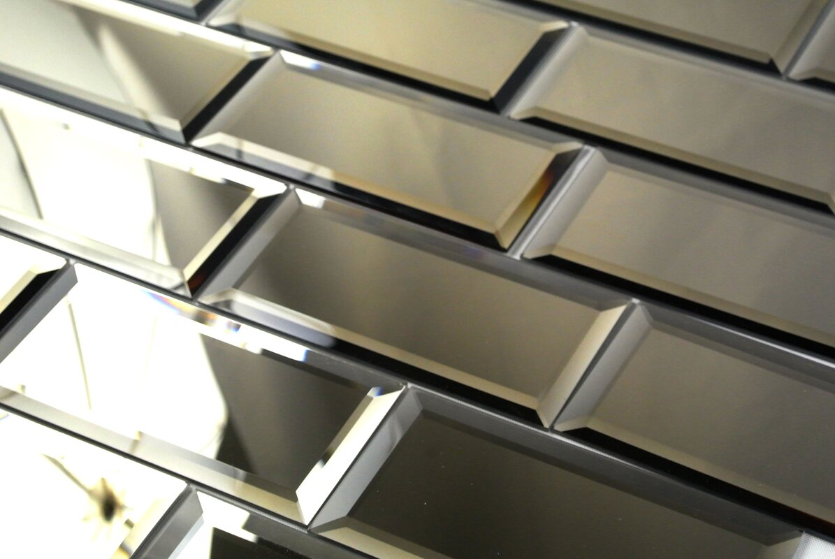 "Stick On Wall Tiles: Abolos Echo 3"" X 6"" Mirror Glass Peel & Stick Subway Tile"
