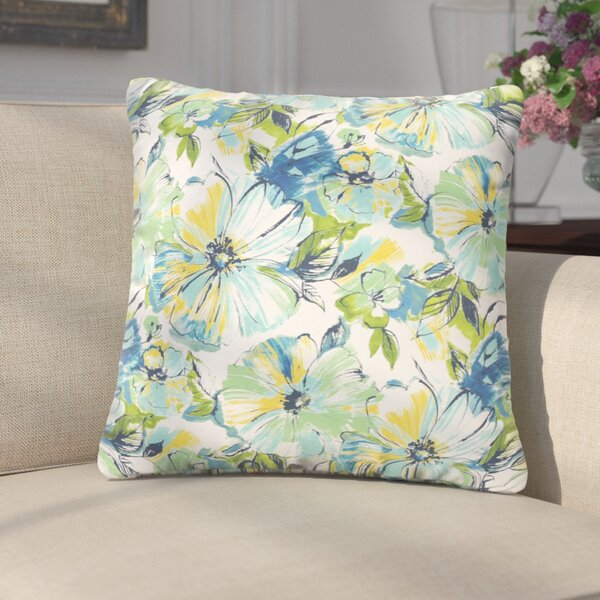 Shoffner Floral Blue/Yellow/Green Indoor/Outdoor Throw Pillow (Set of 2) by Andover Mills
