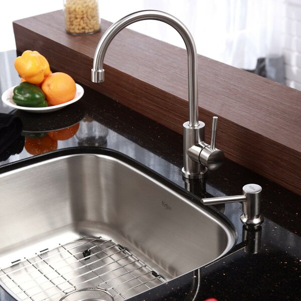 Kraus 23 Quot X 17 6 Quot Undermount Kitchen Sink With Faucet And