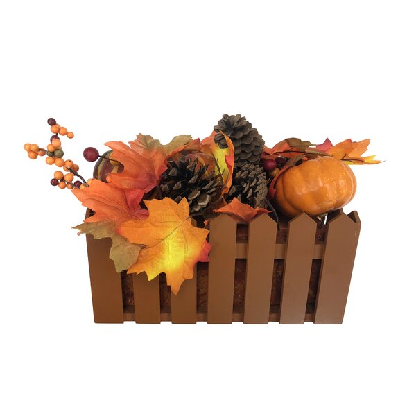 Autumn Harvest Artificial Pumpkin Flower Floral Arrangement in Basket by The Holiday Aisle