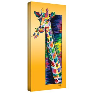 'Giraffe Eating' Graphic Art on Wrapped Canvas by Zipcode Design