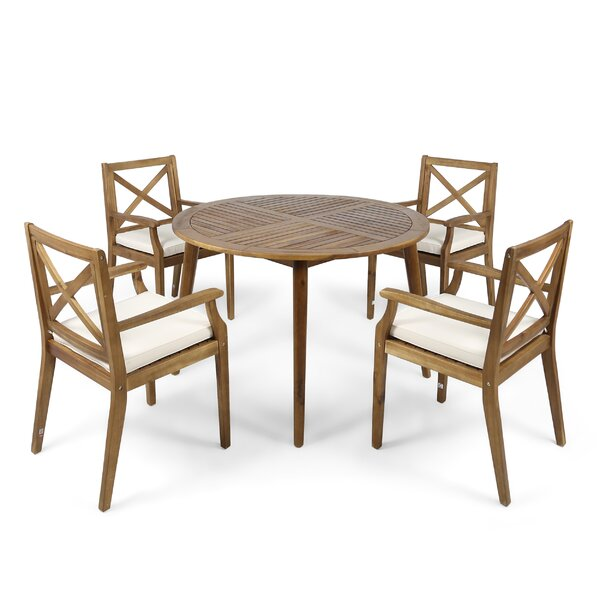 Geneva 5 Piece Teak Dining Set with Cushions by Highland Dunes