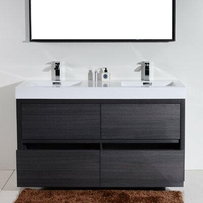 "Bathroom Vanity Modern wade logan tenafly 60"" double wall mount modern bathroom vanity"