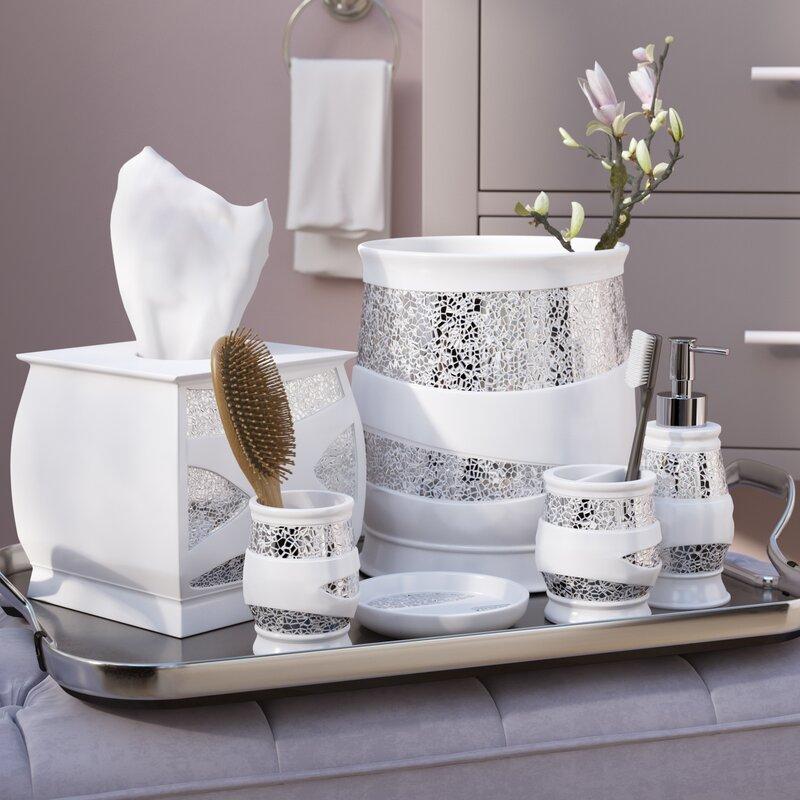 rivet 6 piece whitesilver bathroom accessory set - Bathroom Accessories Set
