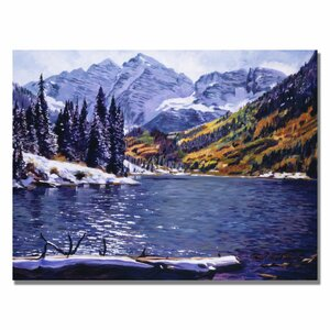 'Rocky Mountain Solitude' by David Lloyd Glover Painting Print on Canvas by Trademark Fine Art