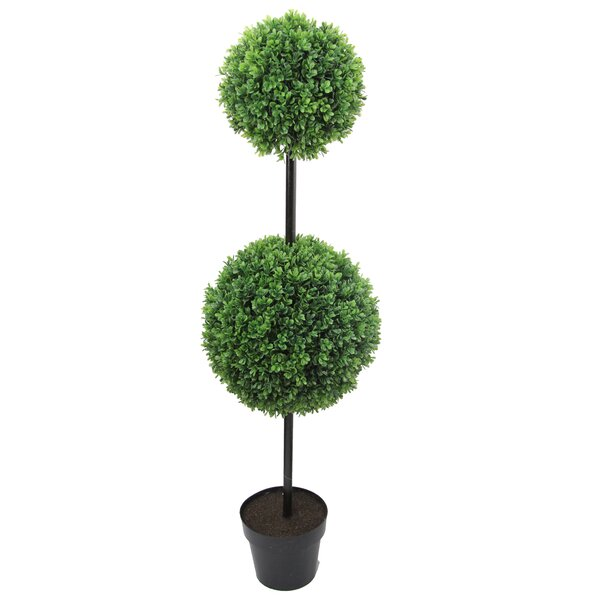 46 Tall Artificial Double Ball Shaped Boxwood Topiary in Pot by Admired by Nature