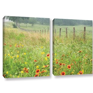 'Flowers and Fence' Photographic Print Multi-Piece Image on Canvas by August Grove