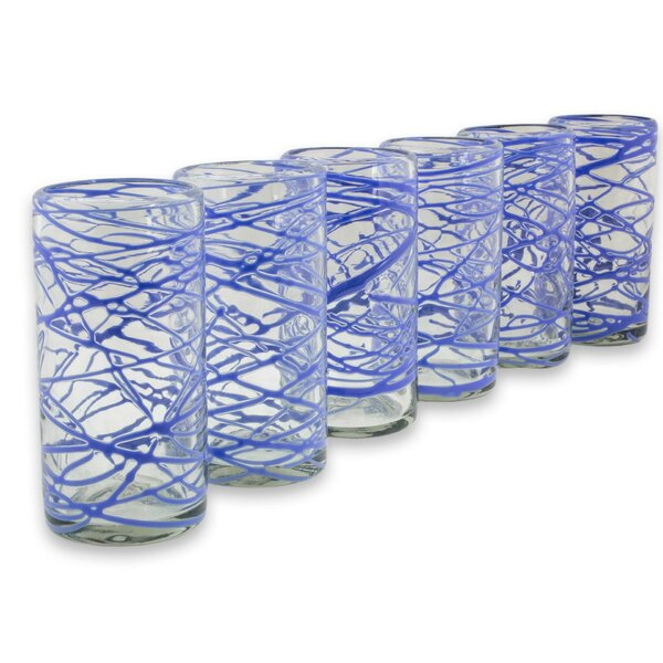 Sapphire Swirl 11 oz. Highball Glass (Set of 6) by Novica