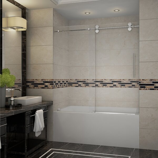 Langham 60 x 60 Single Sliding Completely Frameless Tub-Height Shower Door by Aston
