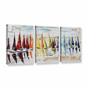 Rainbow Sails 3 Piece Painting Print on Wrapped Canvas Set by Latitude Run
