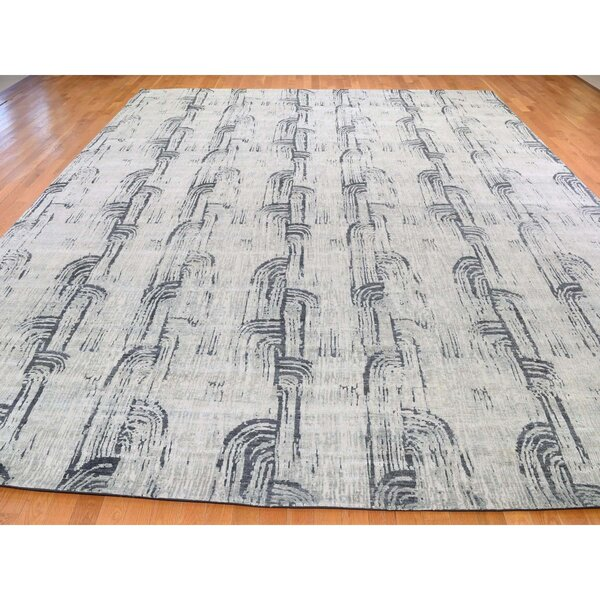 One-of-a-Kind Delvale Hand-Knotted Gray 11'9 x 14'10 Area Rug