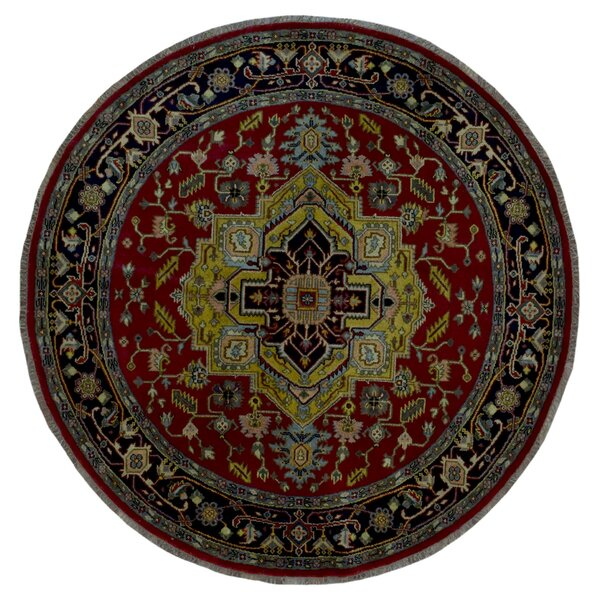 One-of-a-Kind Roselle Oriental Round Hand Woven Red Area Rug by Isabelline