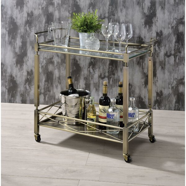 Ervin Metal Framed Bar Cart by Rosdorf Park Rosdorf Park