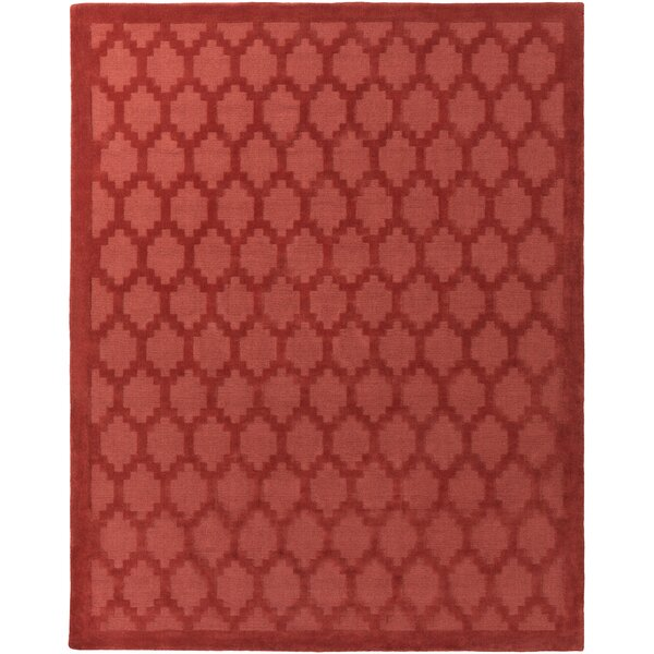 Bracey Hand-Loomed Red Area Rug by Wrought Studio