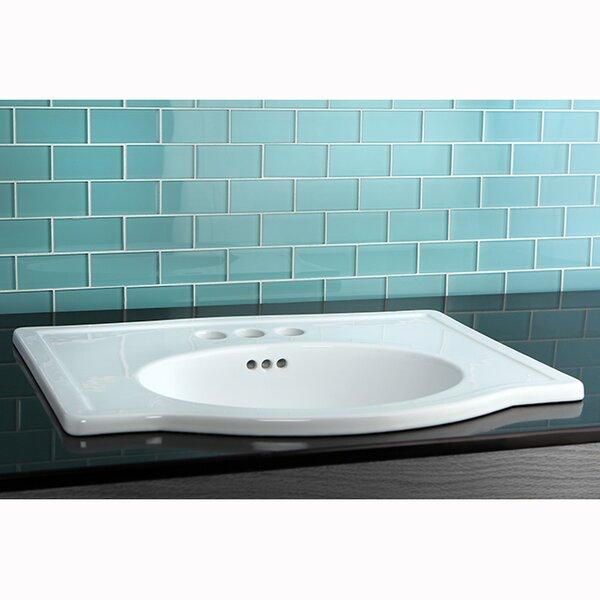 Londonville Ceramic Rectangular Drop-In Bathroom Sink with Overflow by Kingston Brass