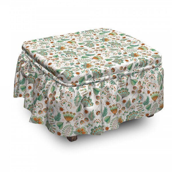 Doodle Botanical Leaves Ottoman Slipcover (Set Of 2) By East Urban Home