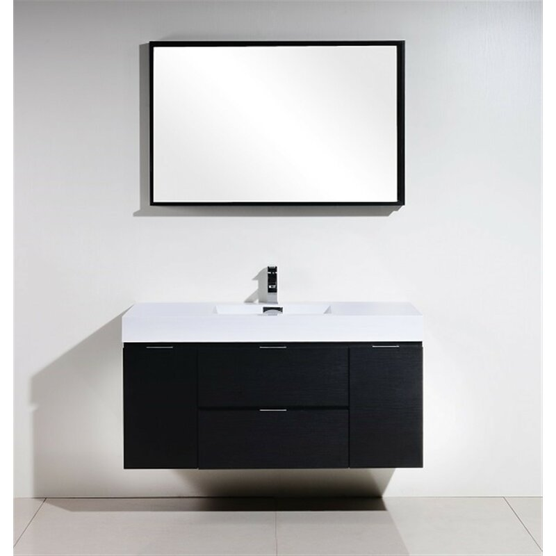 Wade logan tenafly 48 single wall mount modern bathroom for Levi 29 5 single modern bathroom vanity set