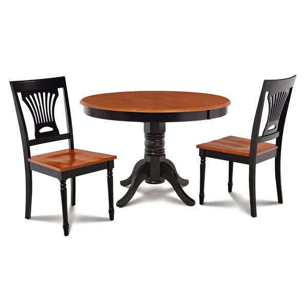 Cedarville Contemporary 3 Piece Solid Wood Dining Set by Alcott Hill Alcott Hill