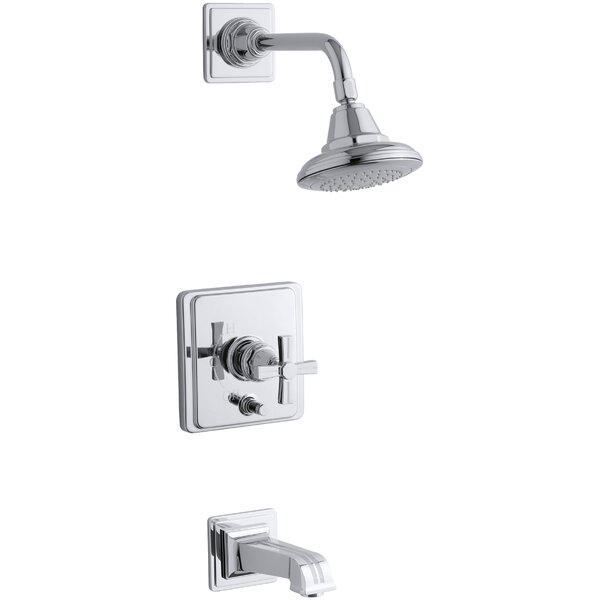 Pinstripe Rite-Temp Pressure-Balancing Bath and Shower Faucet Trim with Cross Handle, Valve Not Included by Kohler