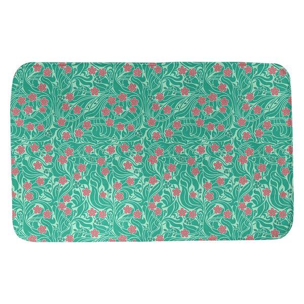 Avicia Katelyn Elizabeth Swirly Rectangle Non-Slip Floral Bath Rug
