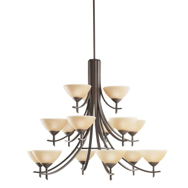 Barcus 15-Light Shaded Tiered Chandelier By Canora Grey