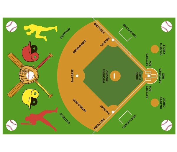 Fun Time Baseball Field Kids Rug by Fun Rugs