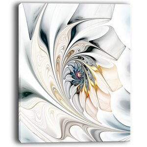 White Stained Glass Floral Large Floral Graphic Art on Wrapped Canvas by Design Art