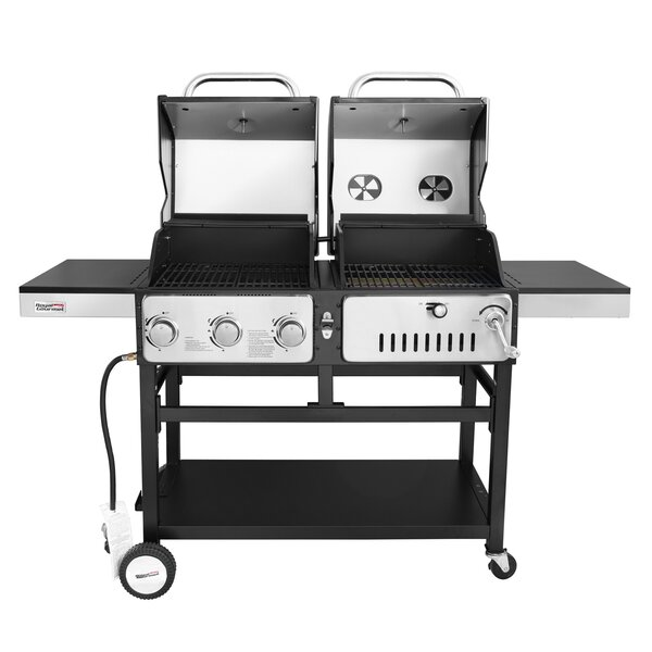 Durable 3-Burner Propane Gas and Charcoal Grill by Royal Gourmet Corp