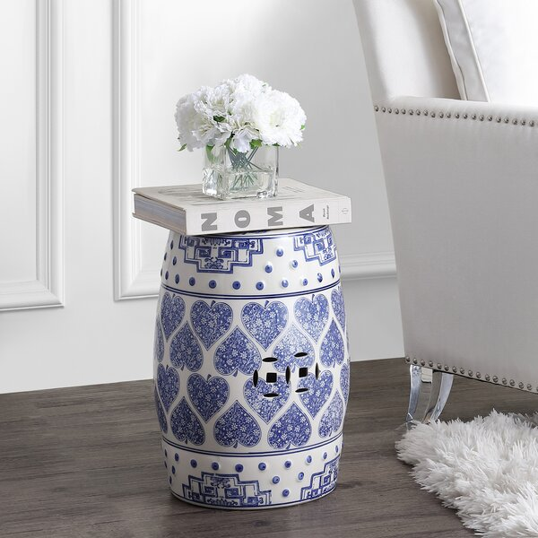 Gorse Happy Hearts Chinoiserie Ceramic Garden Stool by World Menagerie World Menagerie