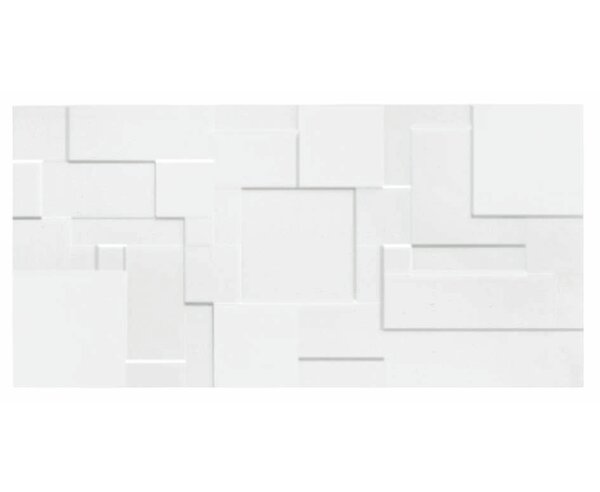 Form Patchwork 10 x 20 Ceramic Field Tile in Glossy White by Mulia Tile