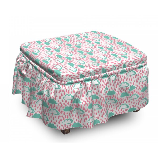 Doodle Clouds And Raindrops Ottoman Slipcover (Set Of 2) By East Urban Home