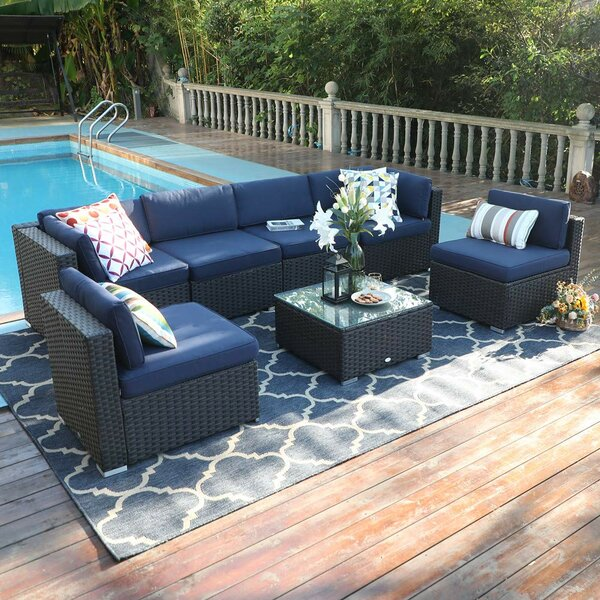 Connally Outdoor 7 Piece Rattan Sectional Seating Group with Cushions by Highland Dunes