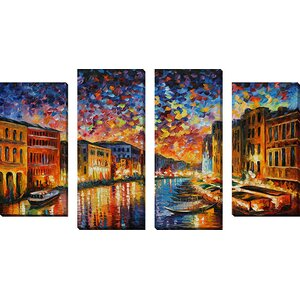 'Venice Grand Canal' by Leonid Afremov 4 Piece Painting Print on Wrapped Canvas Set by Picture Perfect International