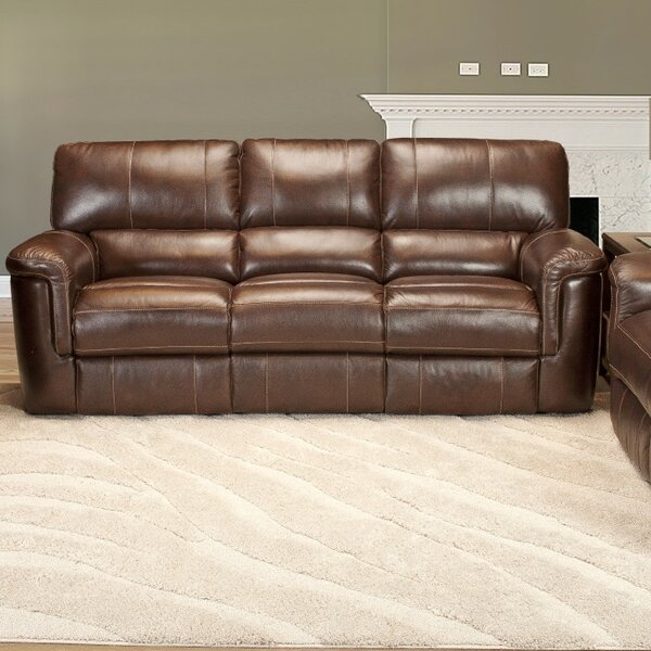 Top Offers Blair Dual Leather Reclining Sofa by Red Barrel Studio by Red Barrel Studio