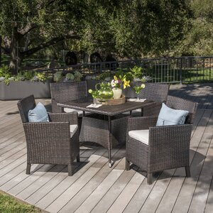 Arbour Outdoor Wicker 5 Piece Dining Set with Cushions