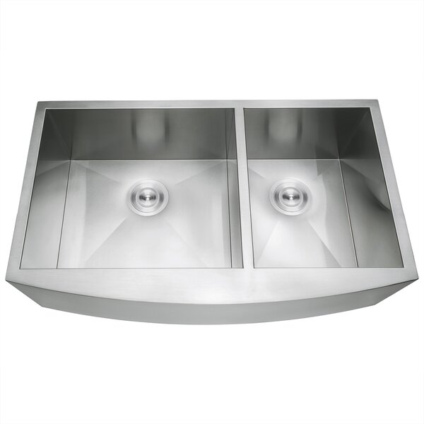 33 x 22 Farmhouse Apron Stainless Steel Double Bowl 60/40 Kitchen Sink w/ Dish Grid and Drain Strainer Kit by AKDY