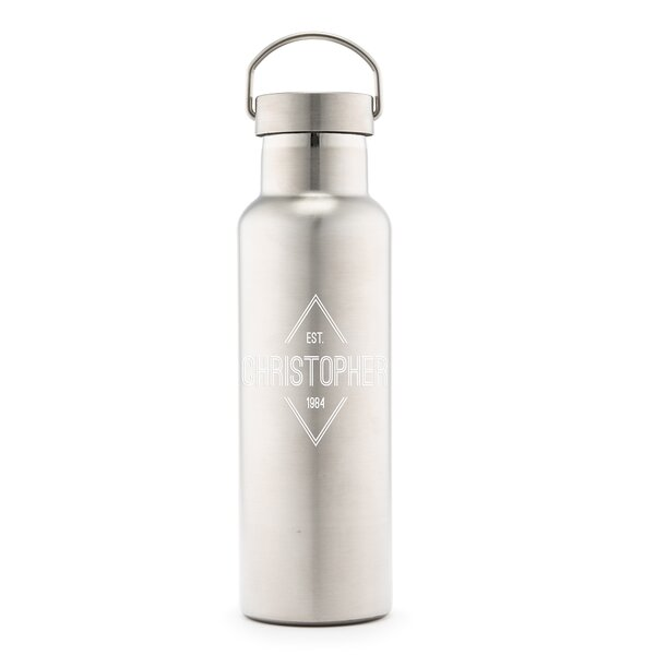 Sandberg Diamond Emblem Print Personalized 25 oz. Stainless Steel Water Bottle by Ebern Designs