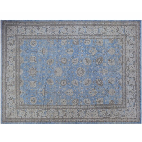One-of-a-Kind Hand-Knotted Blue 10' x 13'7 Wool Area Rug