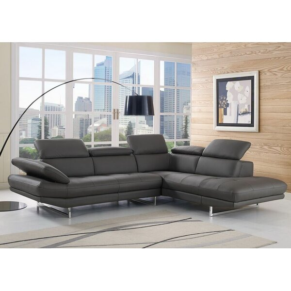 Gridley Right Hand Facing Leather Corner Sectional by Wade Logan